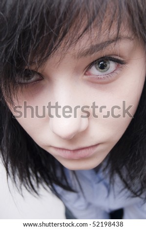 Beautiful Brunette Girl Looking up - stock photo