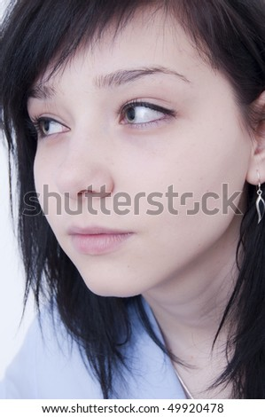 Beautiful Brunette Girl Portrait looking - stock photo
