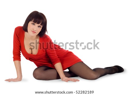 Beautiful brunette girl posing in studio - stock photo