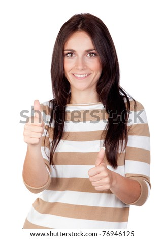 Beautiful brunette girl saying Ok isolated on a over white background - stock photo