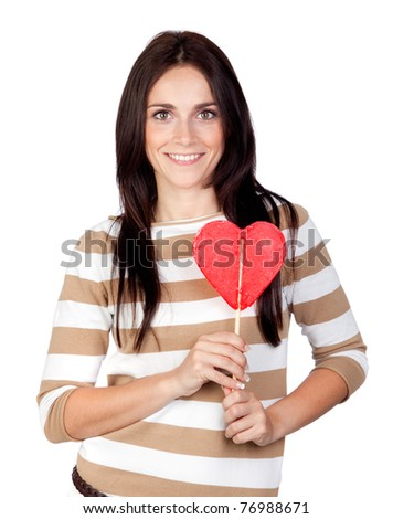 Beautiful brunette girl with a big lollipop isolated on a over white background - stock photo