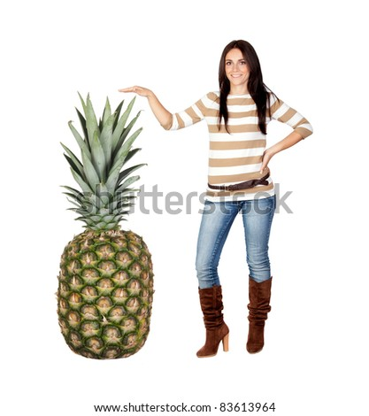 Beautiful brunette girl with a big pineapple isolated on a over white background - stock photo