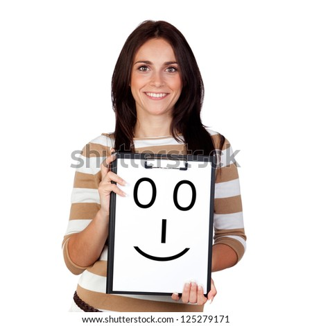 Beautiful brunette girl with a happy face painted on paper isolated on a over white background - stock photo