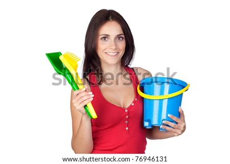 Beautiful brunette girl with beach toys isolated on a over white background - stock photo