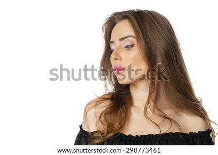 Beautiful Brunette Girl with hairstyle and make up isolated on white background - stock photo