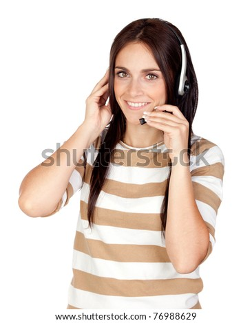 Beautiful brunette girl with headphone isolated on a over white background - stock photo