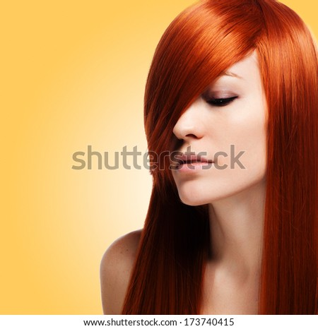 Beautiful Brunette Girl with Healthy Long Hair - stock photo