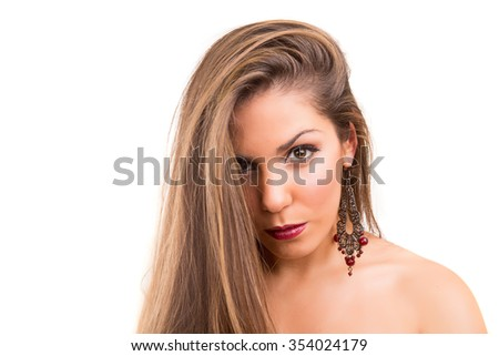 Beautiful Brunette Girl with healthy long hair - isolated over white - stock photo