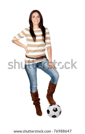 Beautiful brunette girl with soccer ball isolated on a over white background - stock photo