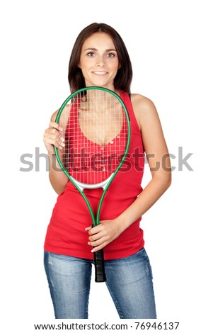 Beautiful brunette girl with tennis racket isolated on a over white background - stock photo