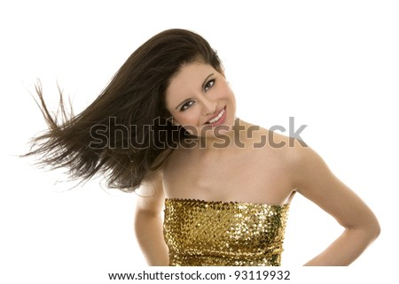 beautiful brunette having fun on white background