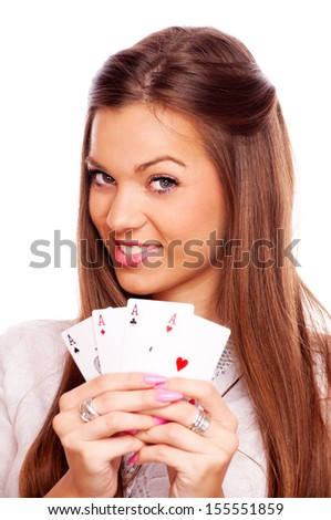 Beautiful brunette holding four aces in her hands - all aces in my hands, isolated on white - stock photo