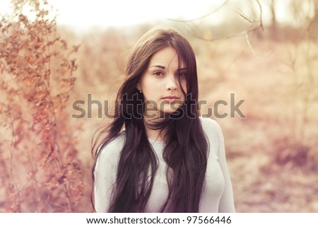 beautiful brunette in a field on a sunny day - stock photo