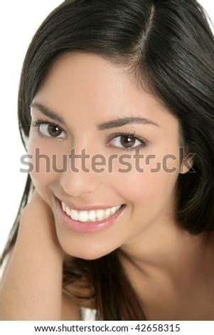 beautiful brunette indian woman beauty closeup portrait over white - stock photo