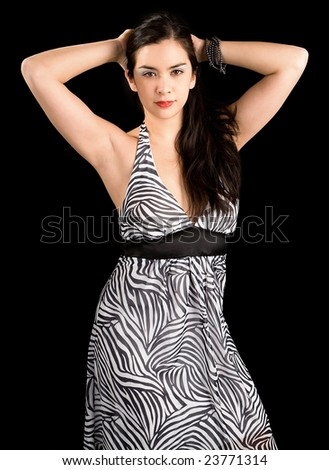 Beautiful Brunette Lady Posing in a Black and White Dress - stock photo