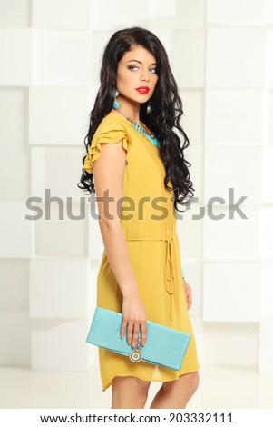 Beautiful brunette model, fashion portrait - stock photo