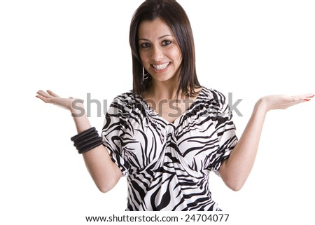 "beautiful brunette model wearing zebra shirt and posing ""don't know"" - stock photo"