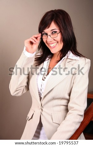 Beautiful brunette office worker with a big smile