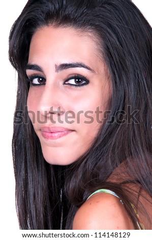 beautiful brunette on white background - stock photo