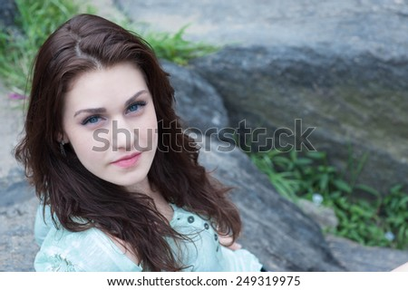 Beautiful brunette portrait - stock photo
