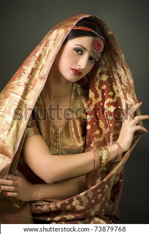 Beautiful brunette portrait with traditionl costume. Indian style - stock photo