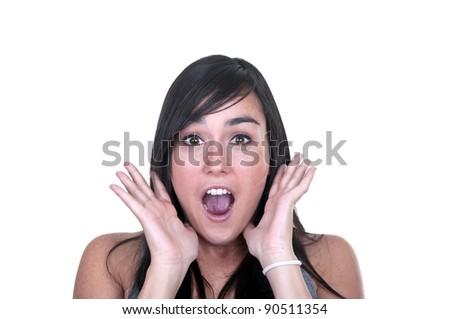 beautiful brunette scared on white background - stock photo