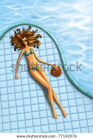 beautiful brunette sunbathing by the pool - stock photo