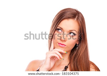 Beautiful brunette thinking with index finger on her face, isolated on white - stock photo