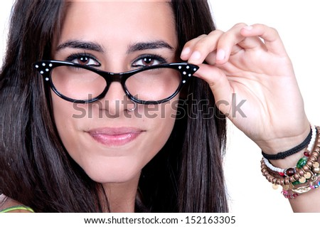 beautiful brunette wearing glasses on white background - stock photo