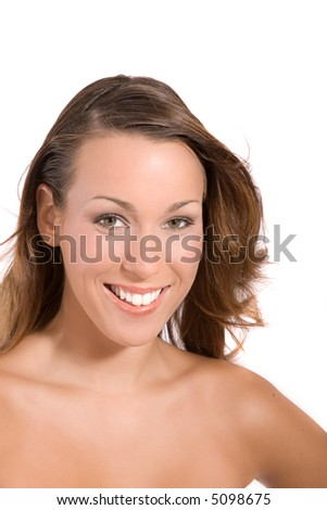 Beautiful brunette with a gorgeous smile and beautiful teeth - stock photo