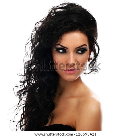 Beautiful brunette with curls evening makeup isolated over white background - stock photo