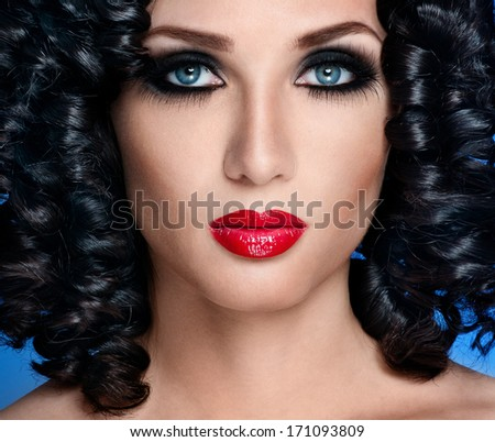 beautiful brunette with gorgeous curly hair - stock photo