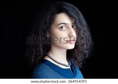 Beautiful Brunette Woman. Curly Long Hair. - stock photo