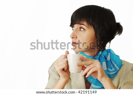 Beautiful brunette woman in blue neckerchief with coffee cup isolated on white background