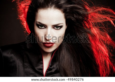 beautiful brunette  woman in oriental style  portrait, studio shot - stock photo