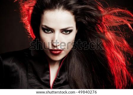 beautiful brunette  woman in oriental style  portrait, studio shot - stock photo