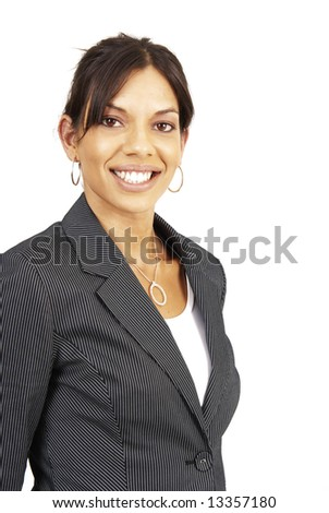 Beautiful brunette woman in pinstripe suit . Isolated on white background with copy space - stock photo