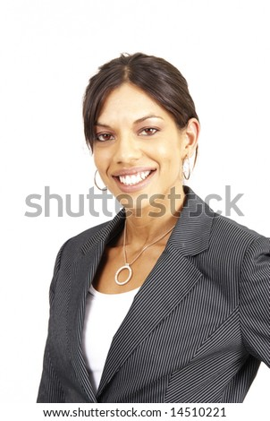 Beautiful brunette woman in pinstripe suit. Isolated on white background with copy space - stock photo