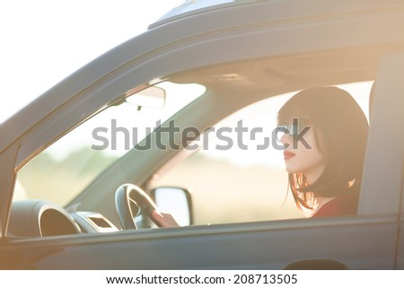 Beautiful brunette woman in the car. - stock photo