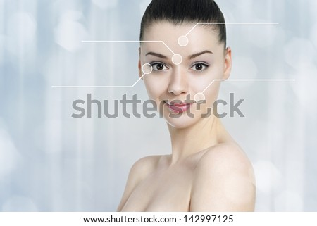 Beautiful brunette woman pointed wrinkles spots. Anti aging treatment  - concept - stock photo
