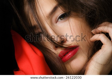 beautiful brunette woman portrait, closeup - stock photo