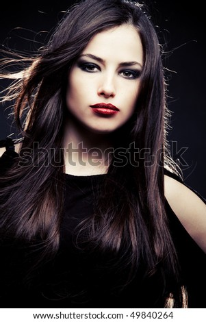 beautiful brunette  woman  portrait, studio shot - stock photo