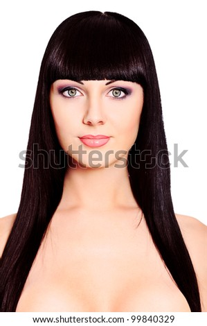 Beautiful brunette woman posing at studio. Isolated over white. - stock photo