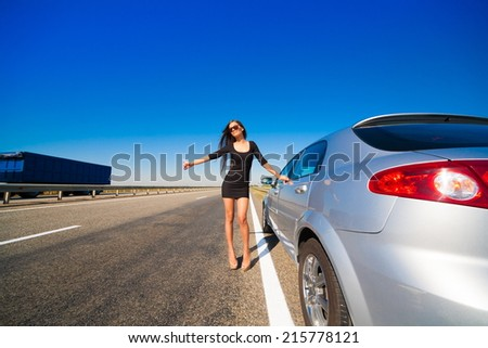 beautiful brunette woman road car travel background