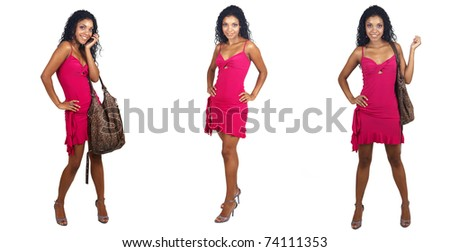 Beautiful brunette woman wearing pink cocktail dress in various poses smiling on white background. Not isolated