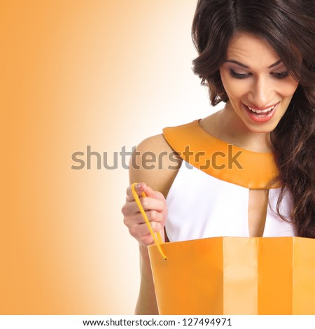 Beautiful brunette woman with a shopping bag - stock photo