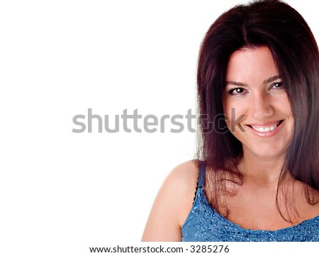 Beautiful brunette woman with brown hair smiling. - stock photo