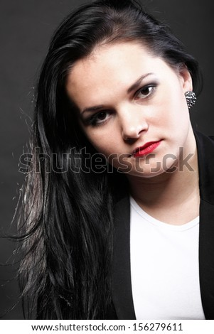beautiful brunette woman with long hair - stock photo
