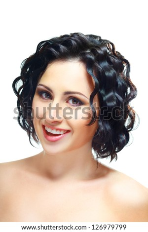 beautiful brunette woman with short hair style close up isolated - stock photo