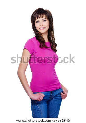 Beautiful brunette young woman in casuals standing with charming bright smile - isolated